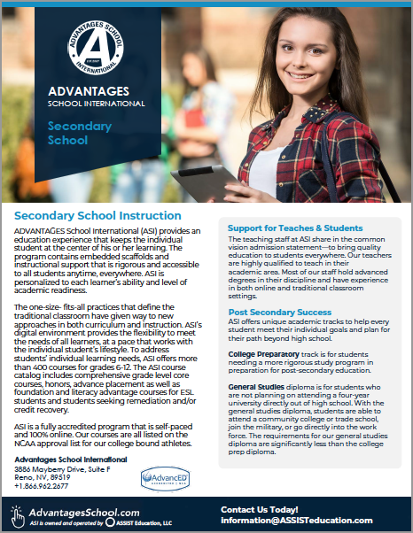 Online High School, ADVANTAGES School International